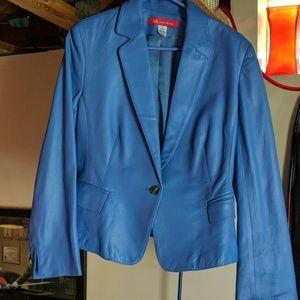 AK Anne Klein Blue Leather Jacket Sz 14P
